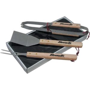Wood Handle BBQ Set